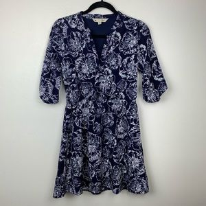 Yumi Anthropologie Half Bubble Sleeve Floral Dress
